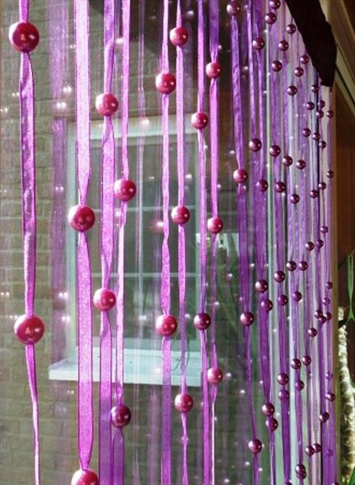 Cortinas feitas de miçangas, frisado cortinas com filamento